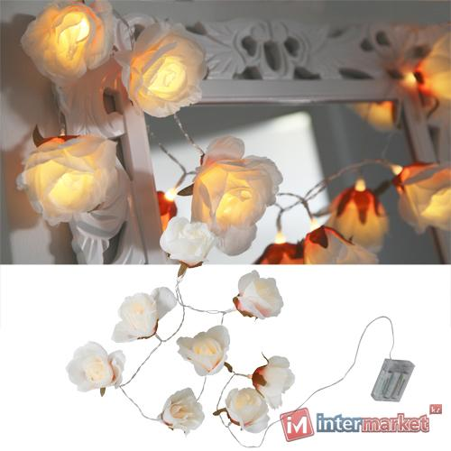 Гирлянда 1,75м теплобелая Розы белые 8х8см кабель прозрачный 0,5м на батарейках 3хАА 6ч таймер 8диодов LED indoor