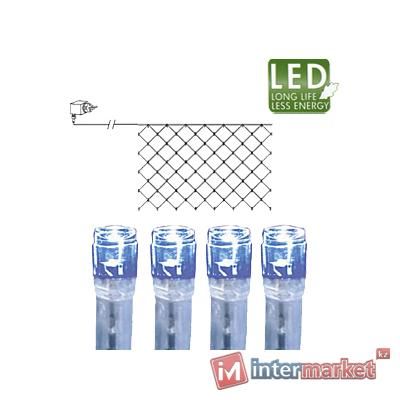 Гирлянда сетка 2х1м голубая кабель прозрачный 10м 90диодов LED outdoor